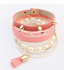 Europe Stylish Rivets Pearl Beads Multilayer Lady Bracelet Bangle 4 Color