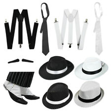 DELUXE GANGSTER SET FANCY DRESS COSTUME ACCESSORY KIT TRILBY FEDORA 1920'S