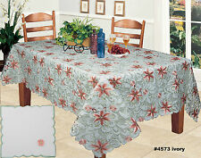 Spring Embroidered Lily Daisy Floral Cutwork Tablecloth & Napkins Ivory #4573