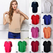 Fashion Women Pocket Blouse Top Sheer Batwing Short Sleeve Loose Chiffon T-Shirt