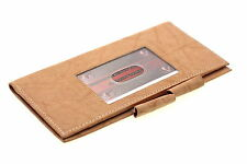 Genuine Leather Checkbook Wallet ID Outside Double Pen Holder Men Women Cowhide