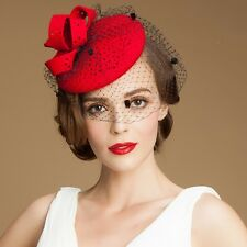 Hollow Wool Felt Veil Women Dress Fascinator Pillbox A195