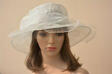Womens Organza Dress Hats Wide Brim Church Wedding Kentucky Derby A199