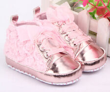 PINK SHINY FLOWERS LACES PRAM CRIB SHOES TRAINERS FOR BABY GIRL 0-12 MONTHS