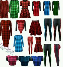 New Ladies Tartan Check Print Womens swing/skater/skirt/midi Dress