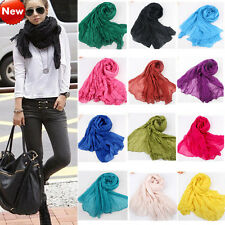 2014 Women's Girl Pure Candy Colour Crinkle Long Soft Scarf Wrap Shawl Stole 001