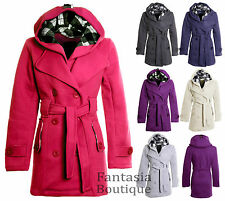 New Women Belted Fleece Jacket Hooded Coat Large Plus Size 16 18 20