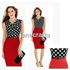 Women Belt Polka Dot Draped Neck Bodycon Slim Work Cocktail Evening Pencil Dress