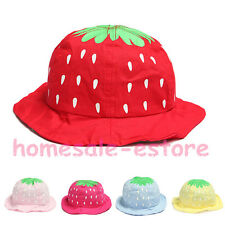 Kid Girls Baby Toddler Summer Dot Strawberry Cotton Bucket Sun Hat Beanie Cap