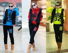 Fashion Women Hoody Jumper Coat+Vest+Pants Tracksuit 3pcs Fleece Sport Sweatsuit