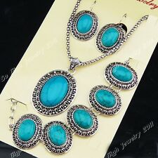 New Antique Silver Oval Turquoise Earrings Bracelet Necklace Vintage Jewelry Set