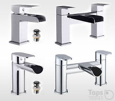 Cascade Waterfall Basin Mixer Mono Tap With Free Waste And Bath Filler Tap Sets