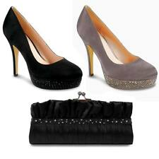 Ladies Diamante Platform Women's Elegant Party Court Shoes Heels Clutch Bag