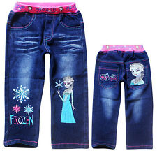 Frozen Elsa Princess Kids Girls Snowflake Funny Blue Jeans Pants Aged 3-9 Years