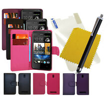 For HTC Desire 500 Book Flip Phone Case Cover + Screen Protector + Stylus Pen