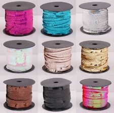 100yard New Shiny Plastic Paillette Sequin Cord Fit Clothing Accessories 6mm
