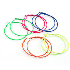 10pcs Lots Fashion Candy Color Circle Basketball Wives Loop Hoop Earrings 56mm