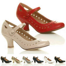 WOMENS LADIES LOW HEEL ANKLE STRAP MARY JANE STYLE WORK COURT SHOES PUMPS SIZE