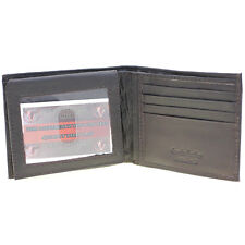 Men Bifold Wallet Genuine Leather Flap Up Zipper Bill Section 2 IDs 8 Card Slots