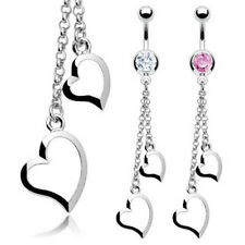 Twin Dangle Crystal Heart Navel Belly Bar - Choose Colour Pink or Clear