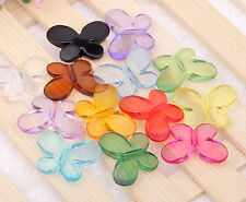 100/50pcs Wholesale Lovely Charms Mixed Acrylic Butterfly Interval Beads Finding