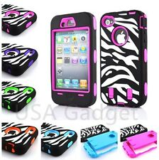 High Impact Shockproof Rugged combo Hard Case Cover For Apple iPhone 4 4s Zebra