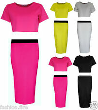 Womens Ladies Celeb Inspired 2 Pcs Textured Pencil Skirt Cropped Top With Skirt
