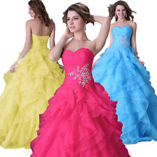 Women Beaded Ball Gown Quinceanera Prom Pageant Party Wedding Wedding Dresses