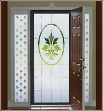 Fleur de Lis Frosted Etched Glass Window Film Semi-Private Adhesive-Free Cling
