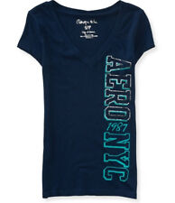 Aeropostale Womens Vertical Aero NYC Foil Graphic V Neck Tee Shirt Sz L XL XXL