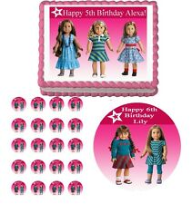 AMERICAN GIRL DOLLS  Edible Birthday Party Cake Topper Cupcake Image Decoration