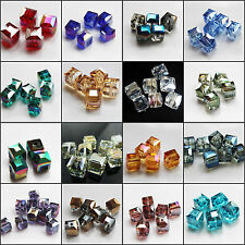 10mm 10/50pcs Faceted Square Cube Cut Glass Crystal Charm Loose Spacer Beads