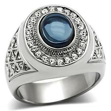 MEN'S STAINLESS STEEL OVAL MONTANA BLUE HALO CZ CUBIC ZIRCONIA DOME RING