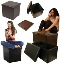 FAUX LEATHER OTTOMAN STORAGE BOX BOXES STOOL TOY CLOTHES BEDROOM LOUNGE LIVING