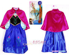 Disney Frozen Princess Anna Children Costume Girl Party Gown Dress 3-9 Wig Tiara
