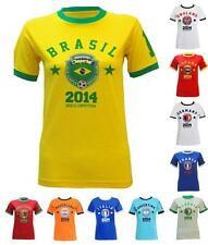 WOMENS MENS WORLD CUP BRAZIL 2014 PRINTED TOP NATIONAL FOOTBALL SOCCER T SHIRT