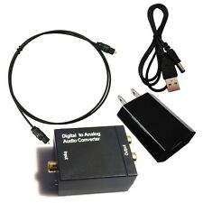 New Digital Optical Coaxial Toslink Signal to Analog Audio Converter Adapter RCA