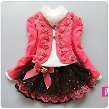 3pcs Girl Kids Flower knitted suit +lace shirt + bow tutu skirt princess dress