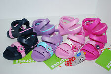 NWT CROCS KEELEY SANDALS GIRLS FUCHSIA PINK NAVY 5 7 8 9 10 11 12 Velcro shoes