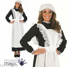 LADIES WOMENS TEACHER VICTORIAN LONG POOR MAID FANCY DRESS COSTUME APRON MOP CAP