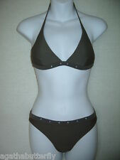 Bikini Set Halterneck Top & Briefs LA REDOUTE Bronze / Brown Eyelet Design NEW