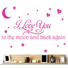 I Love You To The Moon And Back Again Quote Wall Sticker Removable Decor Decals