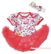 Infant Baby Girl Peony Rose Bodysuit Coral Tangerine Skirt Baby Dress NB-18Month