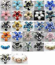 MIX Silver Flowers Murano Glass Cute Core Beads Fit Charms Bracelet Europe CY720