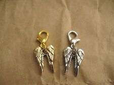 Alloy Dangle Charm Double Angel Wings for floating charm glass locket 1pc
