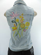 NWT DEPARTMENT OF PEACE Denim Jean Button Vest Yellow Orange Flowers Pockets