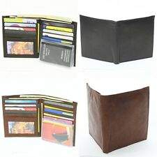 9 Card Pockets 1 ID Window Large Bifold Wallet Genuine Cow Leather Black Brown