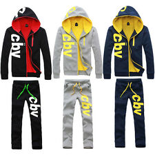 1 Men's Casual Hooded Thicken Fleece + Pants Cotton Cardigan Sweat Suit Outfits