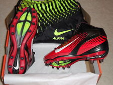 NIB Mens Nike Air Zoom Alpha Talon TD 3/4 Football Cleats Black Red OSU Bag $195