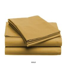 LUXURIOUS SOFT & LIGHT SOLID COLOR BED SHEET SET, KING QUEEN FULL TWIN, GOLD